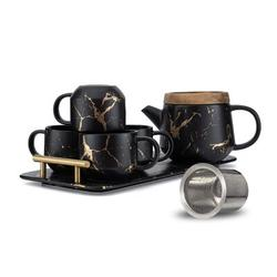 Everly Quinn Ceramic Modern Teapot Set, 25-Oz Tea Sets For Adults, Marble Design Teapot w/ Infuser & Tea Cup Set Of 4 w/ Serving Tray in Black