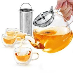 Prep & Savour Glass Teapot Set, 40 Oz./1200 Ml Tea Set w/ 4 Double-Wall Glass Teacups, Teapot w/ Removable Stainless Steel Strainer For Loose