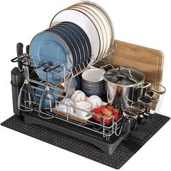 Prep & Savour Dish Drying Rack w/ Drainboard - 2 Tier - 304 Stainless Steel - Large, Size 14.1 H x 19.7 W x 18.1 D in   Wayfair