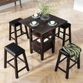 Red Barrel Studio® 4 - Person Counter Height Dining Set Wood/Upholstered Chairs in Brown, Size 36.0 H in | Wayfair 8BE49F4271714CEEA9572382EB8B9FC5