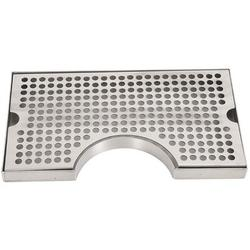 """Symple Stuff Stainless Steel Drip Tray, Cutout For Tower No Drain 12"""" X 7""""X3/4"""" Beer Drip Tray Stainless Steel in Gray   Wayfair"""