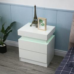 Ivy Bronx Modern High Gloss Night Stand End Bedside Table Organizer w/ 2 Storage Drawers &LED Light Bedroom Furniture Light Yellow   Wayfair in White
