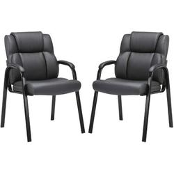 Xiangong CLATINA Leather Guest Chair w/ Padded Arm Rest For Reception Meeting Conference & Waiting Room Side Office Home 2 Pack in Black | Wayfair