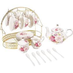 Xiangong Ufengke 15 Piece European Ceramic Tea Sets,Bone China Coffee Set w/ Metal Holder,Colorful Rose Painting Pumpkin Coffee Tea Pot   Wayfair
