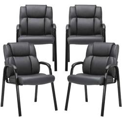 Xiangong CLATINA Leather Guest Chair w/ Padded Arm Rest For Reception Meeting Conference & Waiting Room Side Office Home 4 Pack in Black | Wayfair
