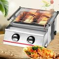 YYBUSHER 13.98Inch Portable Stainless Steel 2 Burners Tabletop Grill LPG Gas BBQ Grill Smokeless BBQ Grid Stove For Outdoor Camping Party Picnic