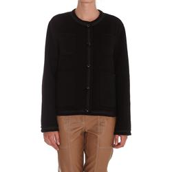 Crewneck Buttoned Jacket - Black - P.A.R.O.S.H. Jackets