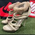 Gucci Shoes | Gucci Camila Mink Fur T Strap Stiletto Heels 8.5 | Color: Cream | Size: 8.5