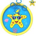 chiloyal Splash Pad Toys For Dogs, Inflatable Sprinkler Play Mat w/ 4 Toss Rings, Summer Outdoor Water Toys For Toddlers, Babies & Dogs in Yellow