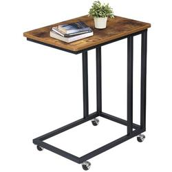 17 Stories Kinso Industrial Mobile Side Table, Movable End Table, Rustic C Table w/ Rolling Casters, Side Table w/ Wheels For Couch Bed, Sofa