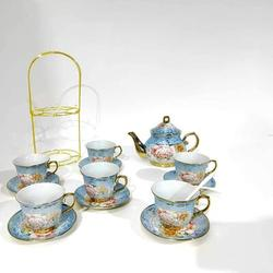 Rosdorf Park 20 PCS Tea Set Ceramics Tea Set Afternoon Tea Set Adult Tea Set Gift Tea Set Can Drink Coffee Strong Tea in Blue   Wayfair