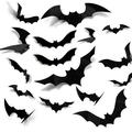 The Holiday Aisle® Huge 3D Halloween Bats Sticker 120PCS 2021 Upgraded Decoration Realistic PVC Scary Bat Sticker in Black, Size 0.25 H x 4.5 W in