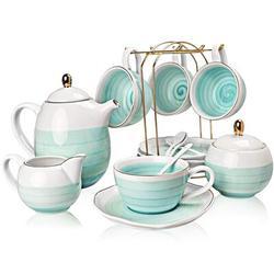 JGZ Porcelain Tea Sets,8 Oz Cups & Saucer Teaspoon Set Of 4, w/ Teapot Sugar Bowl Cream Pitcher & Tea Strainer For Tea/Coffee,Afternoon Tea Party