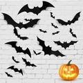 The Holiday Aisle® 64Pcs 3D Bat Stickers, Halloween Party Scary Bat Murals DIY Home Window Decoration in Black, Size 0.01 H x 1.6 W in | Wayfair