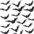 The Holiday Aisle® 96 Pcs 3D Bat Halloween Decoration Stickers, 4 Designs PVC Scary Spooky Bats in Black, Size 0.02 H x 5.3 W in | Wayfair