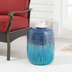 Dakota Fields Blue Teal Glazed Ceramic Garden Stool, 17 Ceramic in Blue/Green, Size 17.0 H x 13.5 W x 13.5 D in | Wayfair