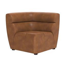 Latitude Run® Nashra Modular - Corner Chair - Coal Black Faux Leather/Leather, Size 31.0 H x 34.0 W x 34.0 D in | Wayfair
