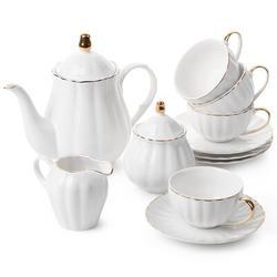 Rosdorf Park Classic Tea Set, 13 Pcs, Tea Cups (7Oz), Tea Pot (38Oz), Creamer & Sugar Set, Porcelain Tea Set, Tea Set, Tea Pot Sets w/ Cups in White