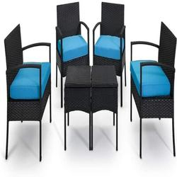 Red Barrel Studio® Patio Chair w/ Cushions Wicker/Rattan in Black/Green/Red, Size 33.5 H x 21.5 W x 19.5 D in | Wayfair