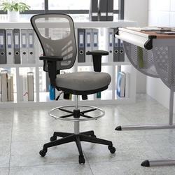 Xiangong Flash Furniture Mid-Back Light Gray Mesh Ergonomic Drafting Chair w/ Adjustable Chrome Foot Ring, Adjustable Arms & Black Frame | Wayfair