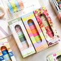 Lot de 10 rouleaux de rubans Washi à grille de points, bande de masquage de couleur Kawaii, papier