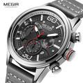MEGIR – montre chronographe de luxe pour hommes, à Quartz, avec bracelet en cuir, étanche, style