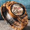 Montre en bois à Quartz pour hommes, chronographe de luxe, montres de Sport militaire élégantes,