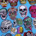 Patch crâne brodé, pour vêtements, thermoadhésifs, Hippie, Punk, rayures, en tissu, pour motard