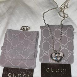 Gucci Jewelry | Authentic Gucci Matching Necklace And Ring | Color: Silver | Size: Os