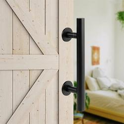 KATIER Barn Door Handles Sliding Barn Door Handle w/ Lock Barndoor Hardware Set, Bard Flat Back Plate - Barnwood Kit in Black | Wayfair