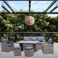 Red Barrel Studio® Outdoor PE Rattan Sofa Set Of 6. Wicker/Rattan in Brown/Gray/Green, Size 27.56 H x 70.08 W x 26.77 D in | Wayfair