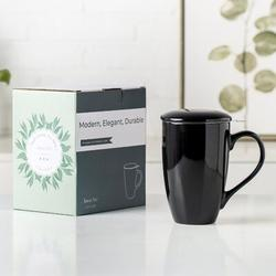 Ivy Bronx Ceramic Tea Coffee Mug Porcelain/Stainless Steel/Ceramic in Black/Brown/Gray, Size 5.8 H in | Wayfair EA92E12F08724737949A93406255E03F