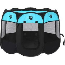Tucker Murphy Pet™ Pet Playpen Foldable Dogs Cats Crate w/ Bowl Play Exercise Kennel Tent Mesh Shade in Blue/Black, Size 23.0 H x 35.0 W x 35.0 D in