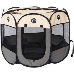 Tucker Murphy Pet™ Pet Playpen Foldable Dogs Cats Crate w/ Bowl Play Exercise Kennel Tent Mesh Shade in Gray/Brown, Size 17.0 H x 28.0 D in | Wayfair