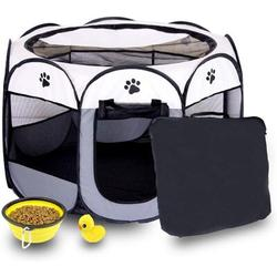 Tucker Murphy Pet™ Pet Playpen Foldable Dogs Cats Crate w/ Bowl Play Exercise Kennel Tent Mesh Shade in Gray/White/Black   Wayfair