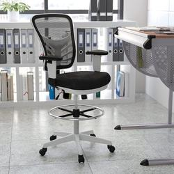 Xiangong Flash Furniture Mid-Back Mesh Ergonomic Drafting Chair w/ Adjustable Chrome Foot Ring, Adjustable Arms & White Frame in Black   Wayfair
