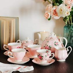 Xiangong Btat- Floral Tea Set, Tea Cups (8Oz), Tea Pot (38Oz), Creamer & Sugar Set, Gift Box, China Tea Set, Tea Sets For Women   Wayfair