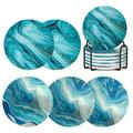 Coasters For Drinks w/ Holder,Marble Ocean Pattern Ceramic Absorbent Coasters w/ Cork Base,Prevent Table Scratched & Absorb Water Stains in Blue