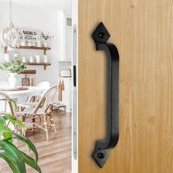 DELCY Barn Door Handle & Flush Set Heavy Door Hardware - Sliding Door Handle Rustic Cabinet Hardware Door Handle & Handle, 2-Piece Set in Black