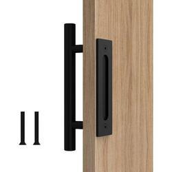 DELCY Barn Door Handle Round | | Circular Heavy Solid Steel Door Handle Is Suitable For The Garage Shed Barn Door in Black | Wayfair DELCY88b1d22
