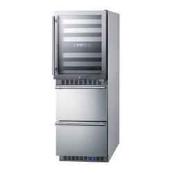 "Summit Appliance 24"" Wide Combination Dual-Zone Wine Cellar & 2-Drawer All-Freezer in Gray, Size 65.63 H x 25.5 W x 23.63 D in | Wayfair SWCDAF24"