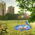 Red Barrel Studio® Bird Feeder Hanging Tray, 10 Inch Glass Oriole Flower Feeder For Indoor Outdoor Garden Backyard Decorative On Pole Bird Bath Bowl