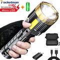 Lampe de poche Portable étanche à lumière LED, lanterne Rechargeable par USB, avec batterie