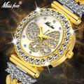 MISSFOX papillon femmes montres marque de luxe grand diamant 18 K or montre étanche spécial Bracelet