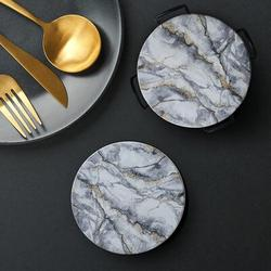 Absorbent Drink Coasters Set w/ Holder Ceramic in White, Size 0.23 H x 4.0 D in | Wayfair ABSe9f569e