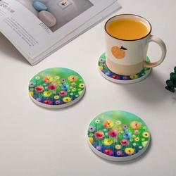 Watercolor Abstract Coaster Set w/ Holder Ceramic in Green, Size 0.35 H x 4.0 D in | Wayfair ABS81a0ead