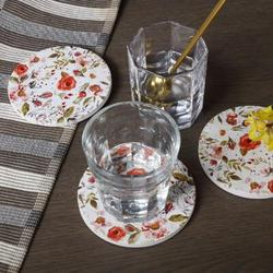 ABS Floral Coaster Set w/ Holder Ceramic in White, Size 0.25 H x 3.9 D in   Wayfair ABS52120a6