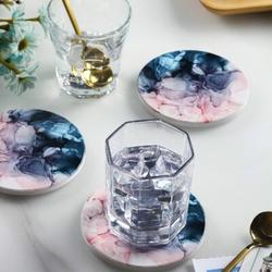 ABS Unique Coaster Set w/ Holder Ceramic in Blue, Size 0.24 H x 3.9 D in | Wayfair ABS29cd503