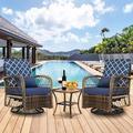 Bay Isle Home™ 3 Pieces Patio Conversation Set W/Woven Wicker Swivel Rocker Chair & Side Table,For Garden Backyard Lown Porch () Wicker/Rattan