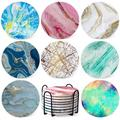Coasters For Drinks Absorbent - Colorful Ceramic Stone Cup Marble Coaster Pack Anti Scratch Cork Base w/ Holder For Wooden Coffee Table Bar Housewa